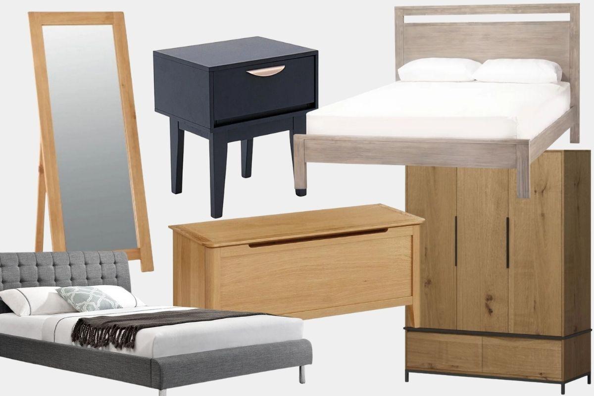 Featured: Sonia Cheval Mirror, Leonel Night Table, Maxwell Bed, Heatherfield Triple Wardrobe, Barnett Blanket Box, Laune Bed