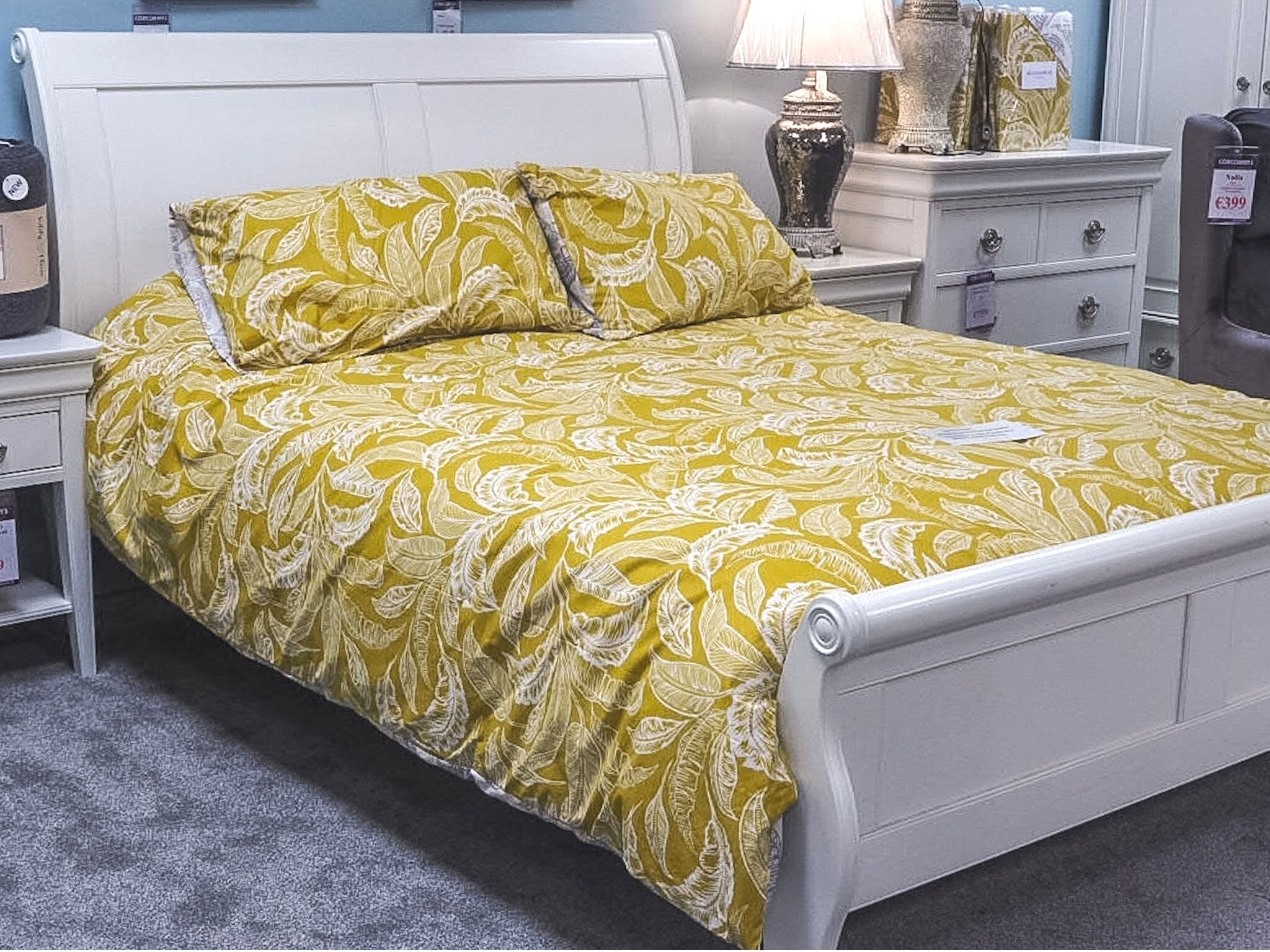 Chanel White Bed Frame with Accessorize London King Quilt Cover