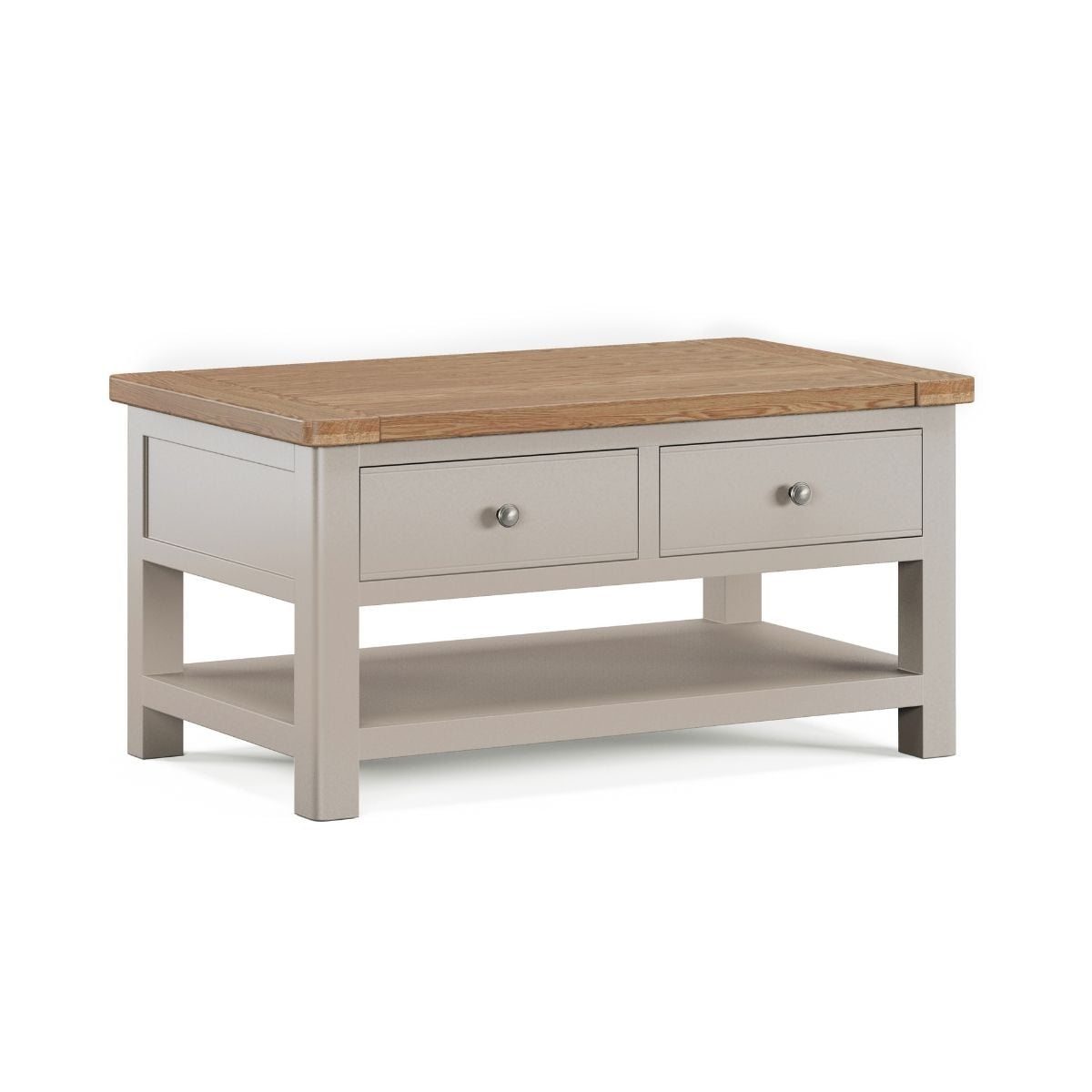 2 drawer grey wood coffee table