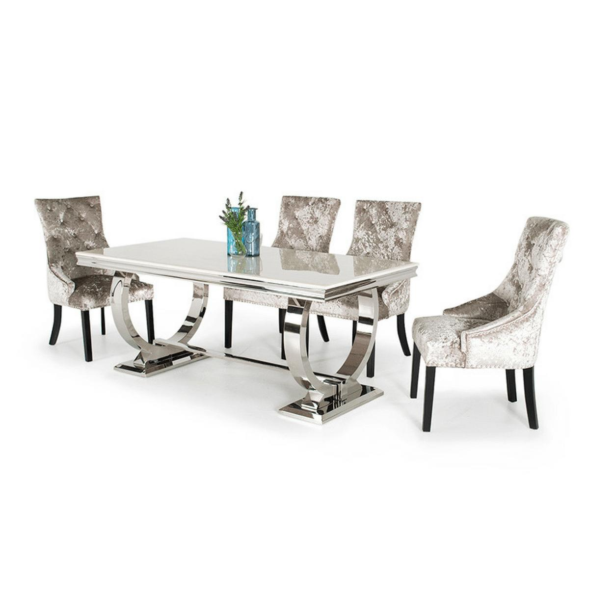 Marble and Metal Dining Table
