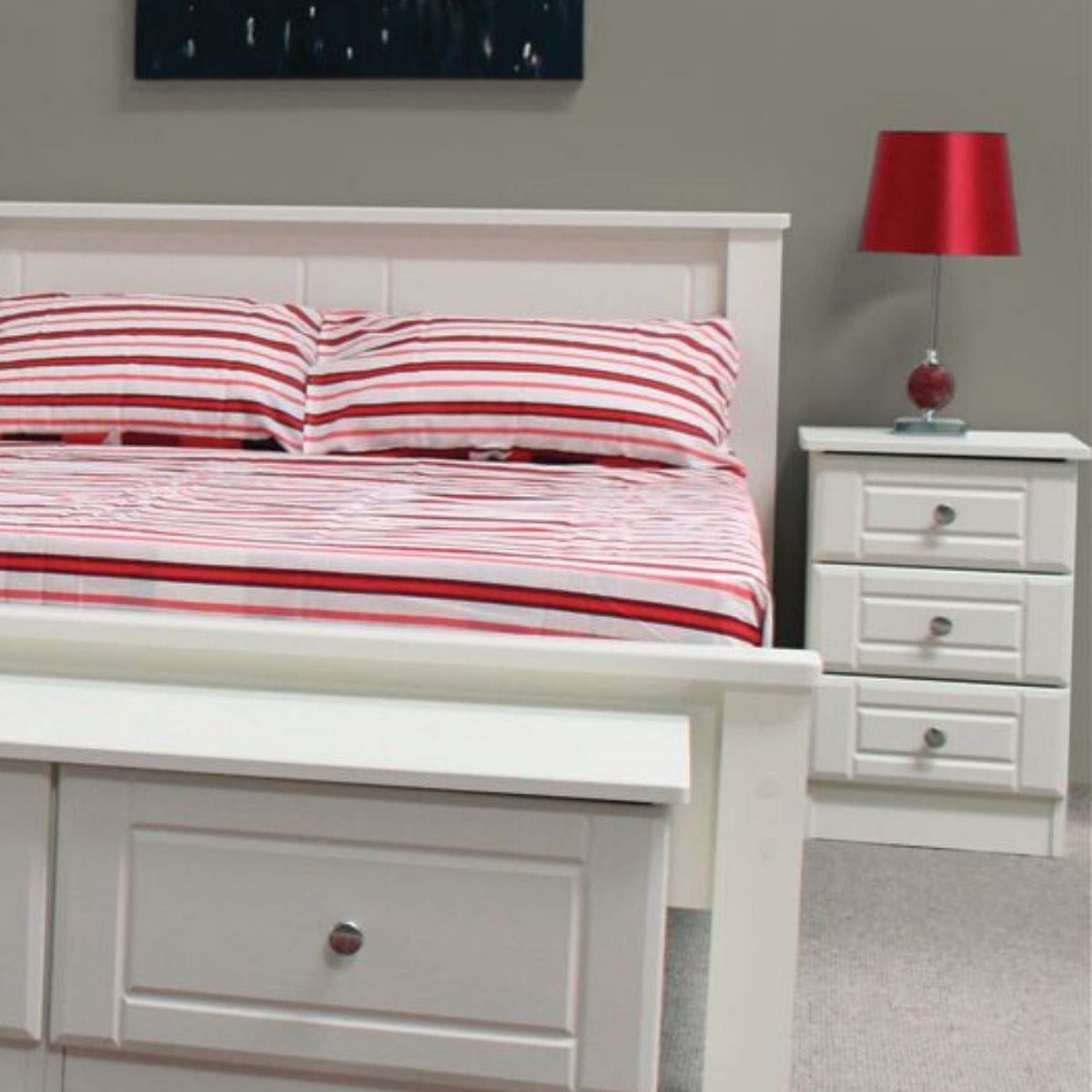 Becky 3 Drawer Bedside Table