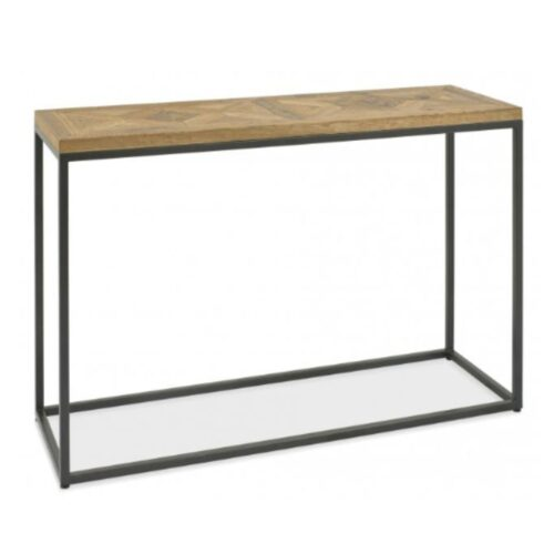 Oak and Black Metal Console Table