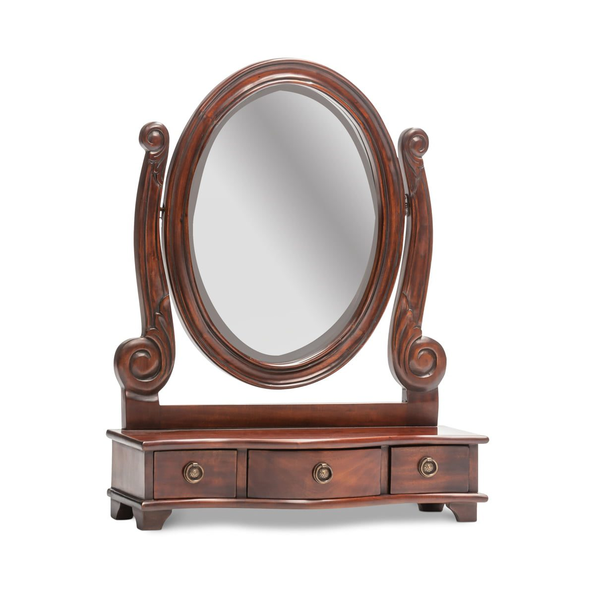 Classic Mahogany Oval Top Mirror