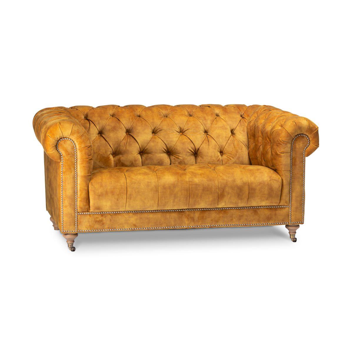 Bologna Mustard Velvet 2 Seater Sofa