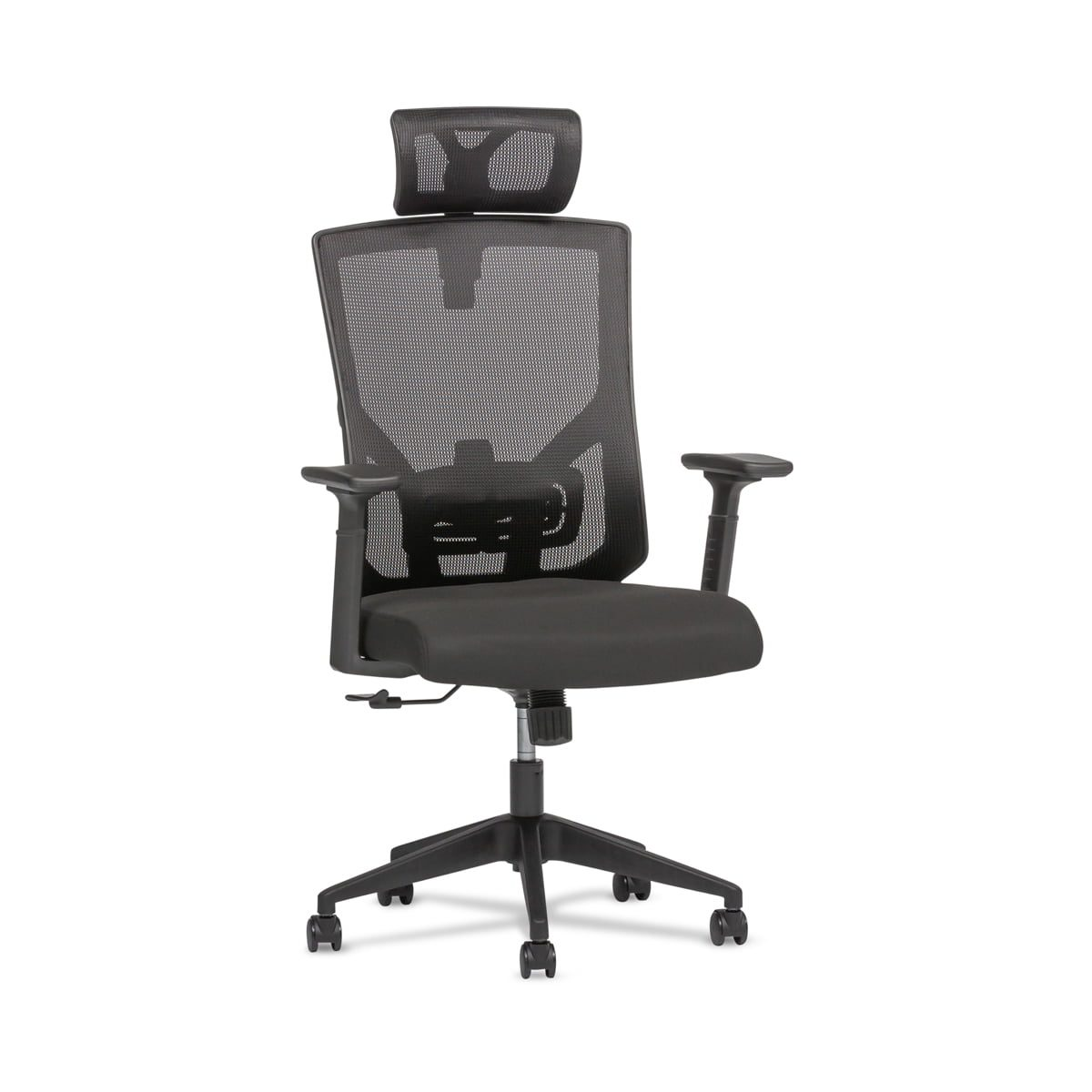 black mesh office chair with headrest