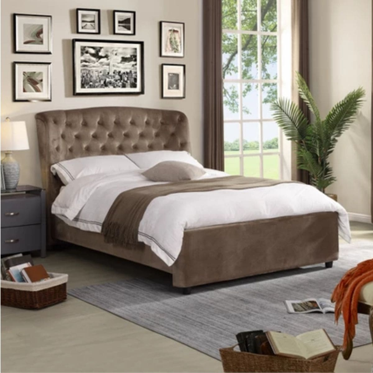Button Upholstered Bed