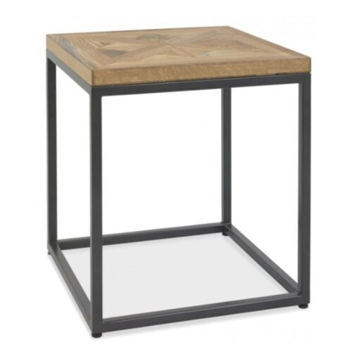 Oak and Metal Side Table