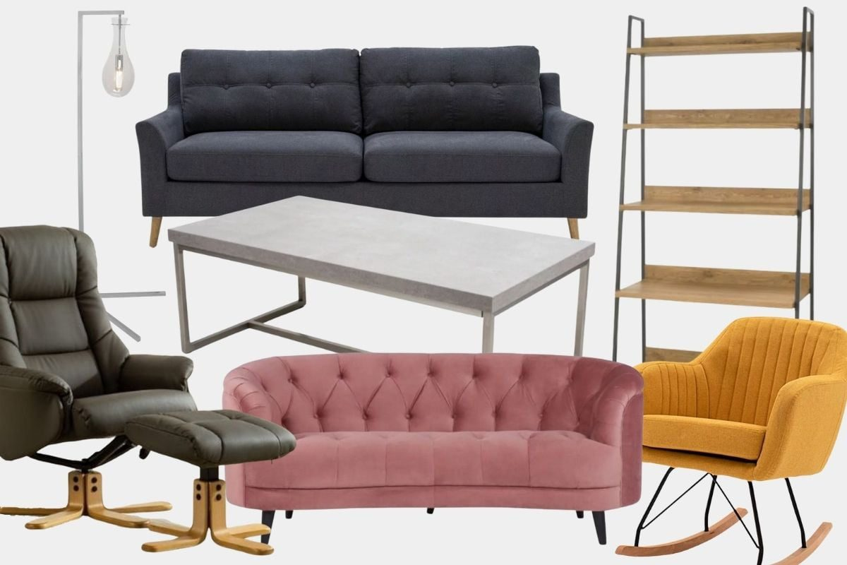 Featured: Telford Lamp, Olivia 3 Seater Sofa, Inishmore Open Display Unit, Kate Rocking Chair, Skyla 2 Seater Sofa, Freda Swivel Recliner and Footstool, Denny Concrete Effect Coffee Table
