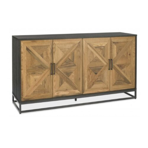 Black Metal and Wood Sideboard