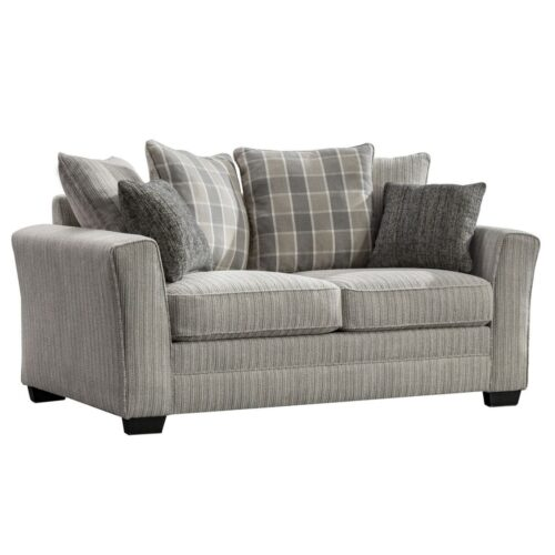 Belene Beige Fabric 2 Seater Sofa with Check Cushions