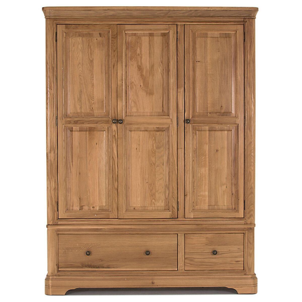 Oak Triple Wardrobe with Drawers