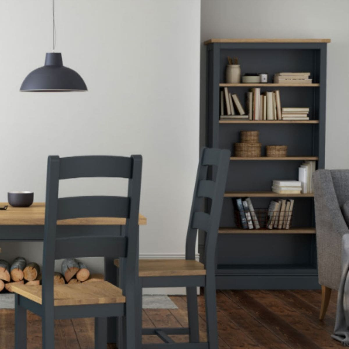 Charlie Large Charcoal and Oak Bookcase