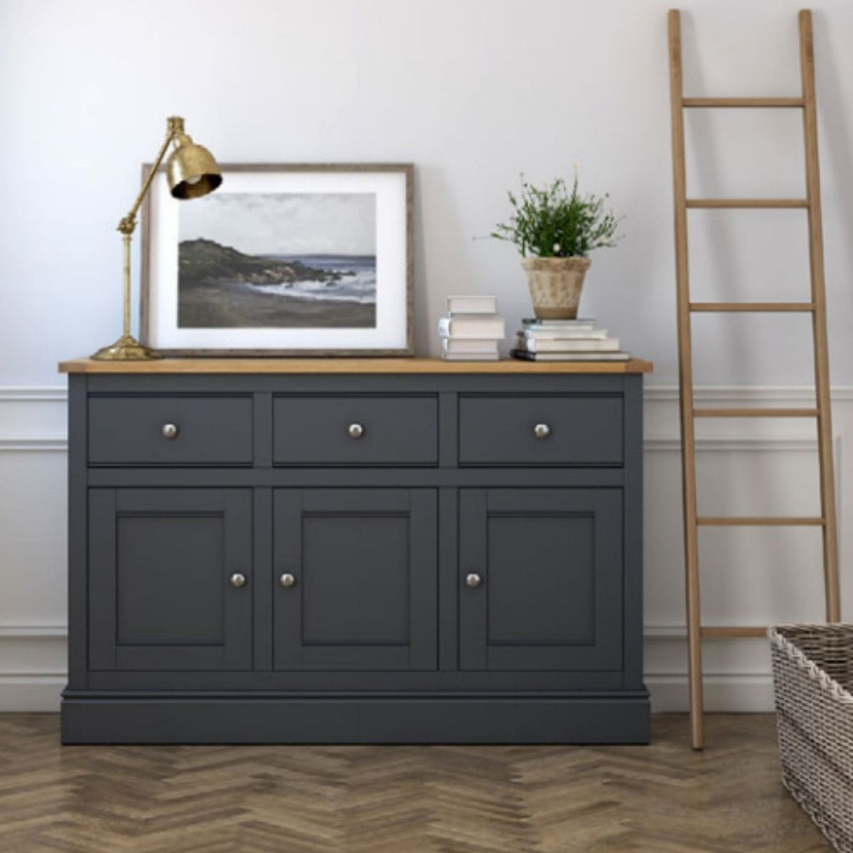 Charlie Extra Large Charcoal and Oak Sideboard