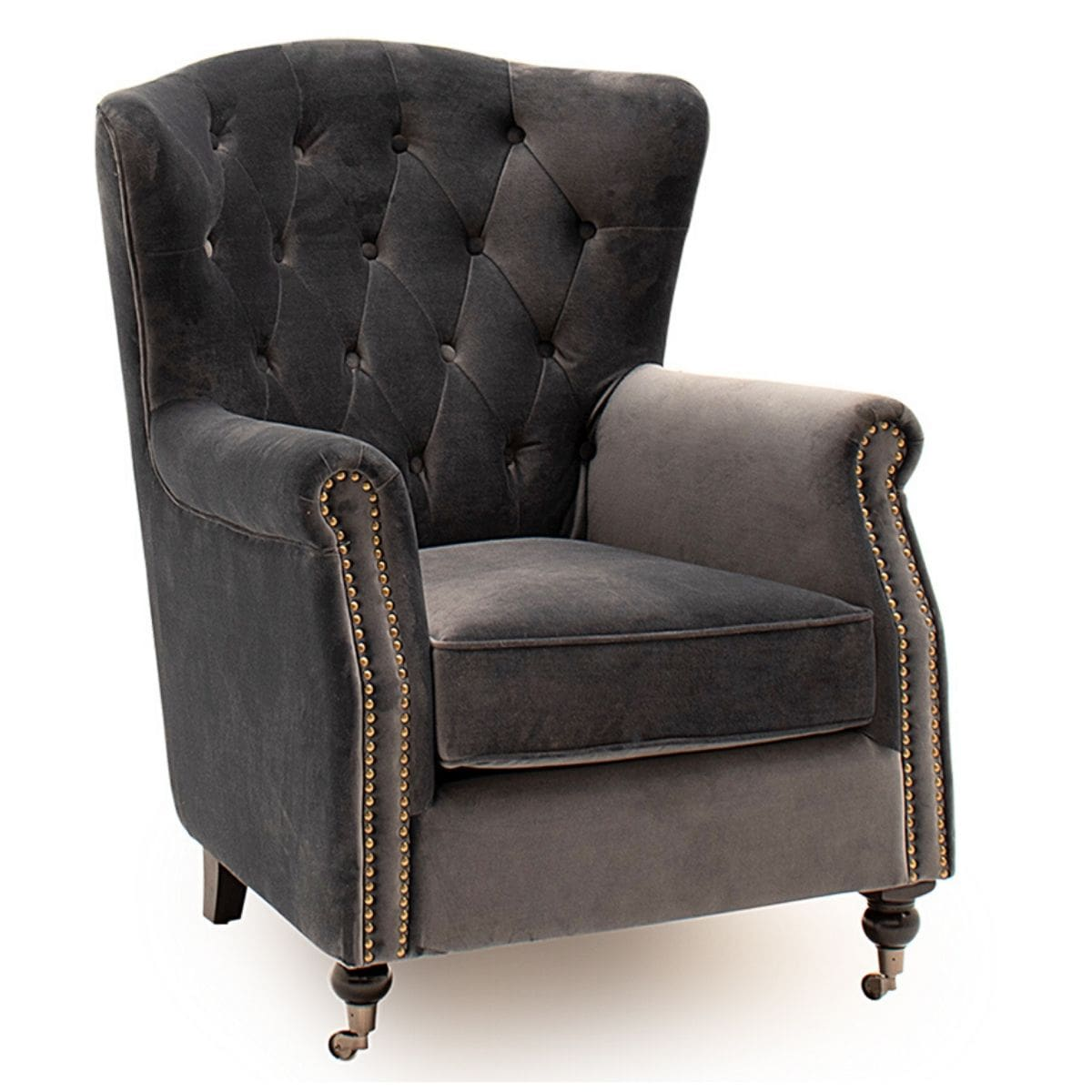 Douglas Velvet Tufted Wingback Chair