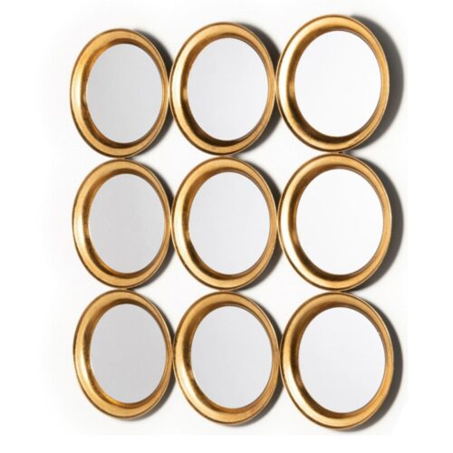 Antique Gold Round Grid Mirror