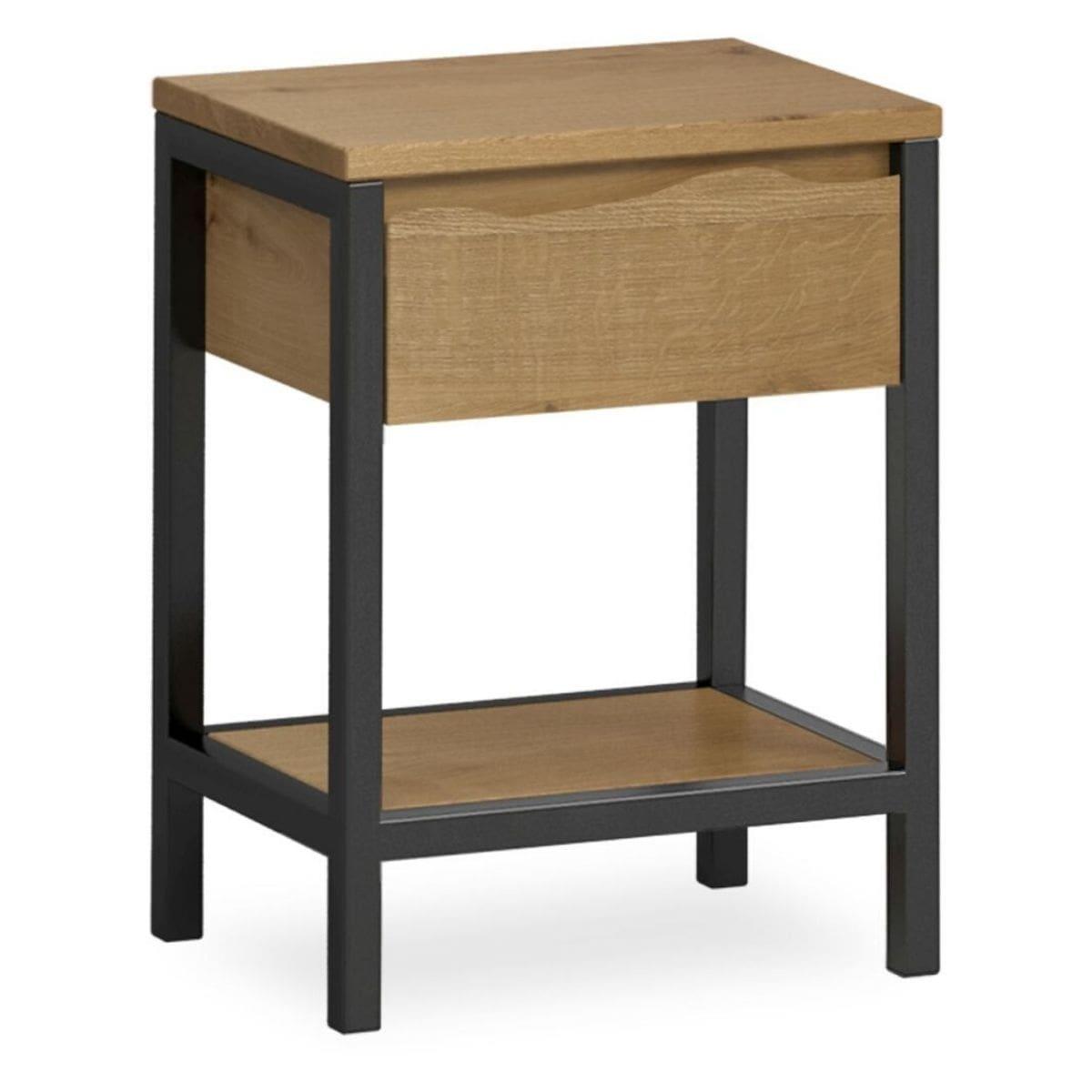 Heatherfield Oak and Metal Bedside Table