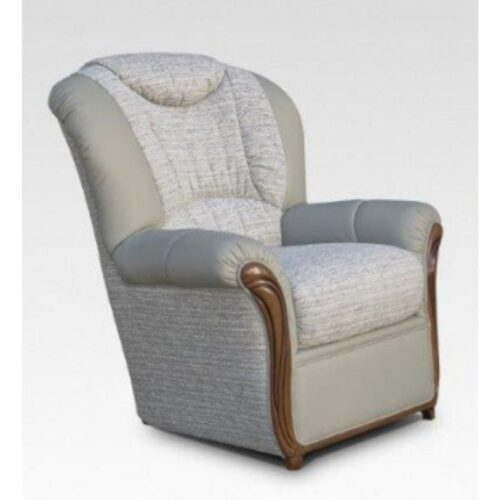July Leather and Fabric Two-Tone Armchair