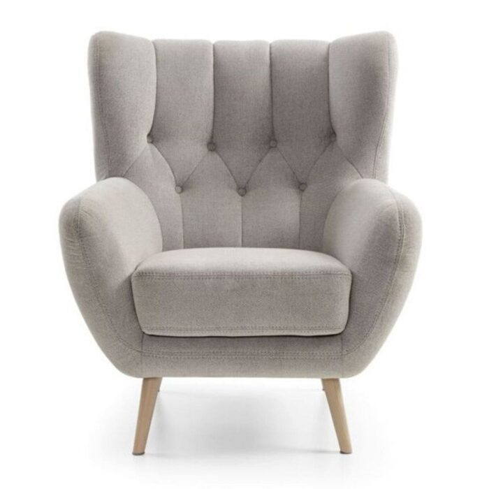 Grey Tufted Wingback Chair