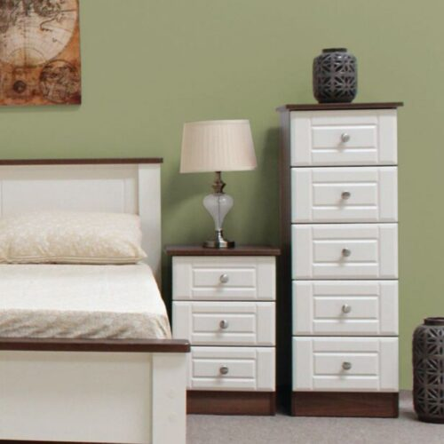 Ivory and Walnut Bedside Table