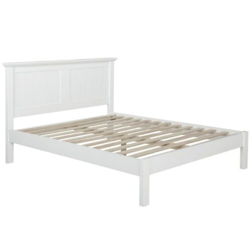 White Painted Wood Bed Frame