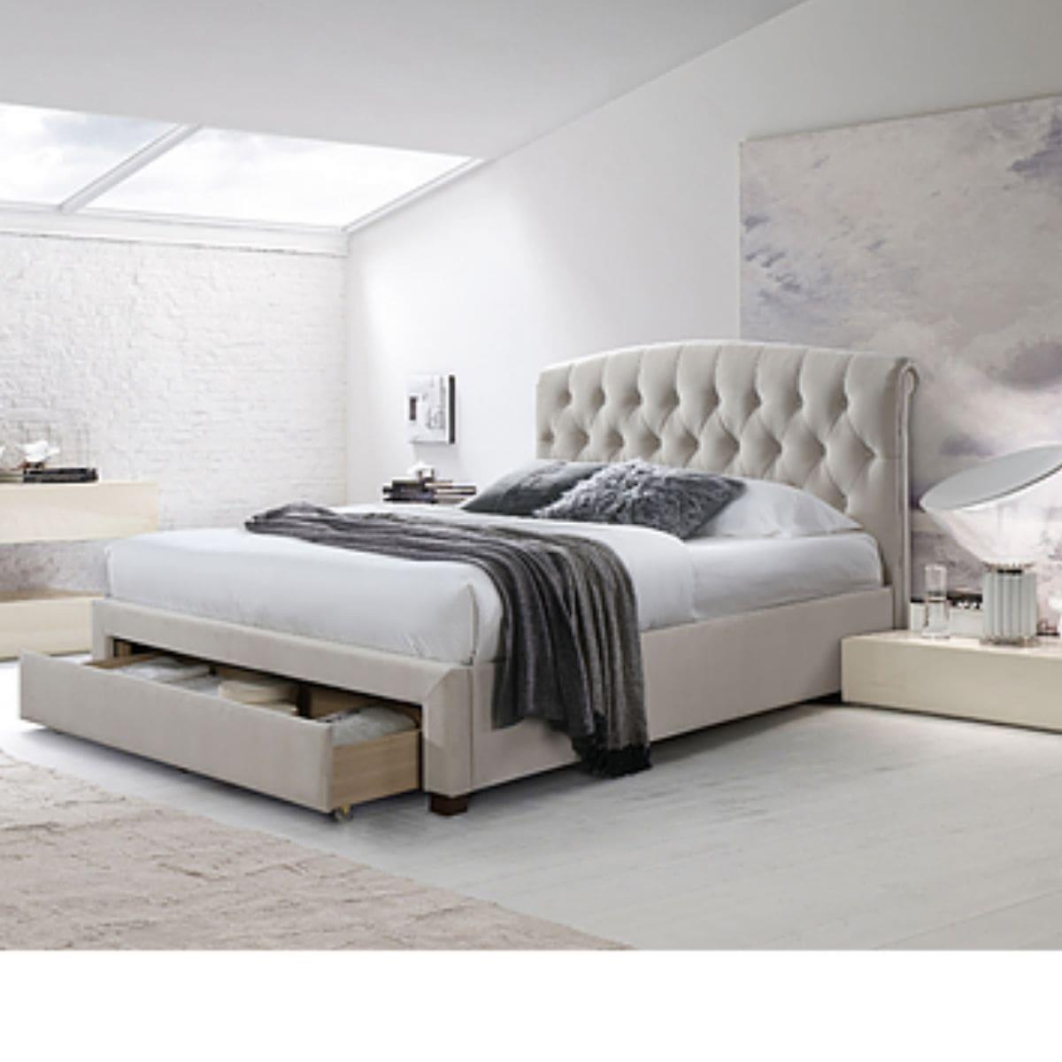 Grey Upholstered Platform Bed