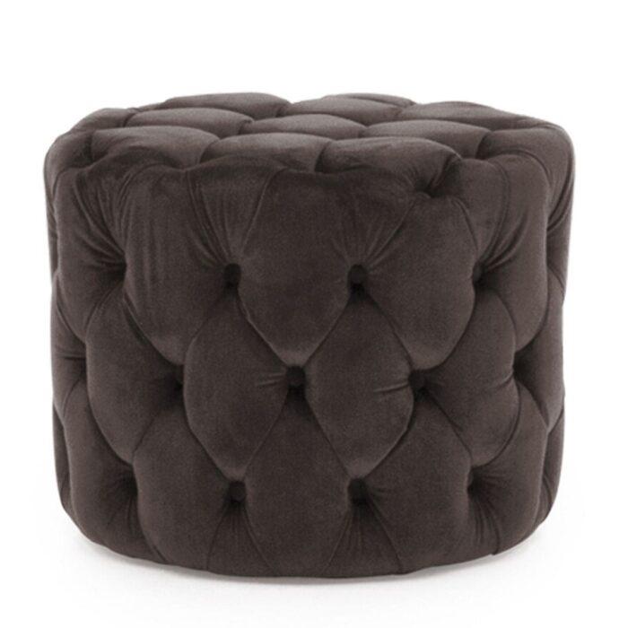 Velvet Buttoned Footstool