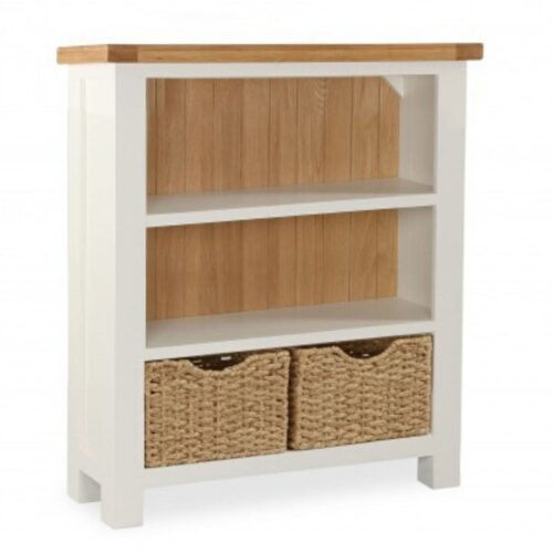 Sabina Two-Tone Low Oak Bookcase
