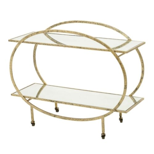 gold frame mirrored drinks trolley
