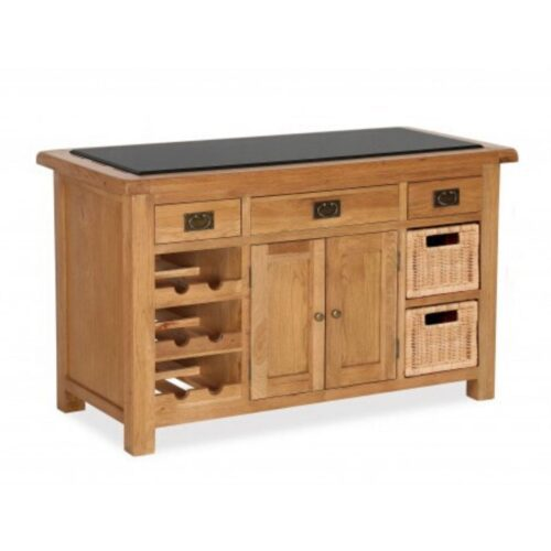Oak Kitchen Island with Granite Top