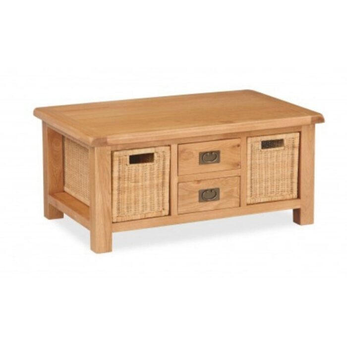 Oak Coffee Table with Baskets