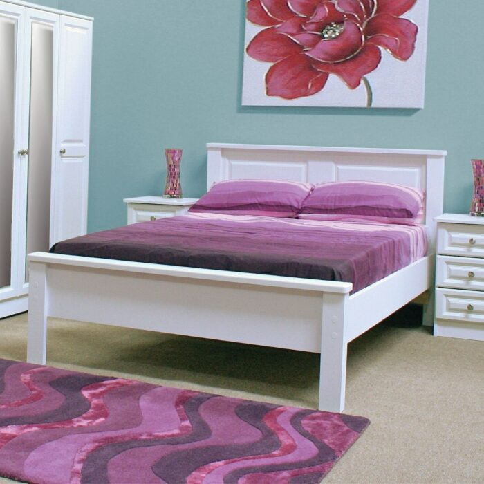 Wooden Bed Painted White