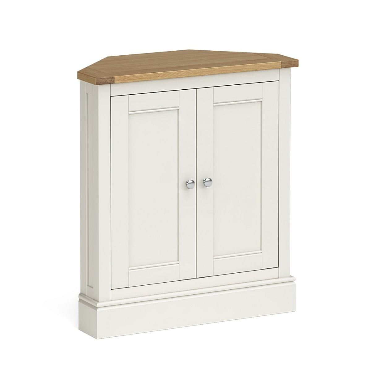 Charlie Large Ivory and Oak Corner Cupboard